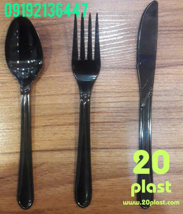 کارد و چنگال یکبار مصرف مشکی
